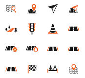 Road icon set Stock Images