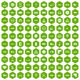 100 road icons hexagon green. 100 road icons set in green hexagon isolated vector illustration Stock Photo