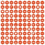 100 road icons hexagon orange Stock Photography