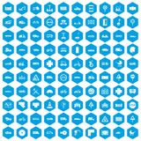 100 road icons set blue. 100 road icons set in blue hexagon isolated vector illustration stock illustration