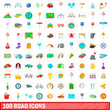 100 road icons set, cartoon style Royalty Free Stock Photo