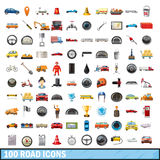 100 road icons set, cartoon style Royalty Free Stock Images