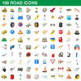 100 road icons set, cartoon style Stock Photo