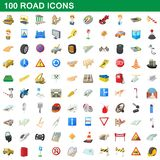 100 road icons set, cartoon style. 100 road icons set in cartoon style for any design illustration stock illustration