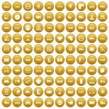 100 road icons set gold. 100 road icons set in gold circle isolated on white vector illustration Royalty Free Stock Photos