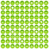 100 road icons set green. 100 road icons set in green circle isolated on white vectr illustration Royalty Free Illustration