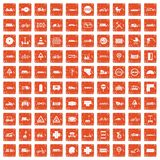 100 road icons set grunge orange. 100 road icons set in grunge style orange color isolated on white background vector illustration royalty free illustration