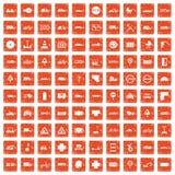 100 road icons set grunge orange. 100 road icons set in grunge style orange color isolated on white background vector illustration Royalty Free Stock Photos