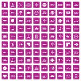 100 road icons set grunge pink. 100 road icons set in grunge style pink color isolated on white background vector illustration royalty free illustration
