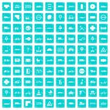 100 road icons set grunge blue. 100 road icons set in grunge style blue color isolated on white background vector illustration Royalty Free Stock Photo