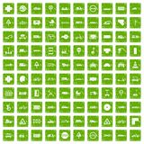 100 road icons set grunge green. 100 road icons set in grunge style green color isolated on white background vector illustration Royalty Free Illustration