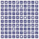 100 road icons set grunge sapphire. 100 road icons set in grunge style sapphire color isolated on white background vector illustration vector illustration