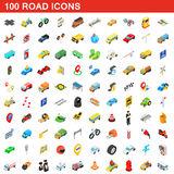 100 road icons set, isometric 3d style Royalty Free Stock Image