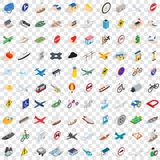 100 road icons set, isometric 3d style. 100 road icons set in isometric 3d style for any design vector illustration Stock Images