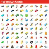100 road icons set, isometric 3d style. 100 road icons set in isometric 3d style for any design illustration vector illustration