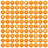 100 road icons set orange. 100 road icons set in orange circle isolated on white vector illustration royalty free illustration