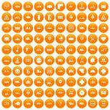 100 road icons set orange. 100 road icons set in orange circle isolated on white vector illustration Royalty Free Stock Image
