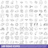 100 road icons set, outline style Stock Photos