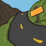 Road illustration. Scenic road cartoon Royalty Free Stock Photos