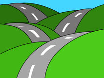 Road illustration. Illustration of the road through the hills Royalty Free Stock Image