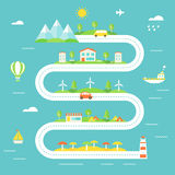 Road Illustration with Mountains, Fields, Town, Wind Electric Stations, Camp and Beach Areas. Tourism, Sustainable Lifestyle Royalty Free Stock Photography