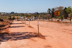 Road Improvements Civil Engineering. Road Widening construction improvements in local suburb outside Durban Royalty Free Stock Images