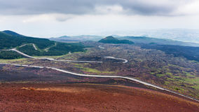 Road In Hardened Lava Fields On Mount Etna Royalty Free Stock Image
