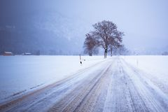 Road In Snow Covered Winter Landscape Royalty Free Stock Image