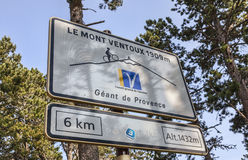 Road Indicator During on Mount Ventoux Stock Images
