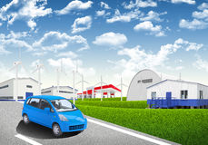 Road and industrial area Royalty Free Stock Image
