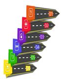 Road Infographic. Arrows, pointers stylized under the road. royalty free illustration