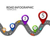 Road infographic. Colorful pin pointer and cars top view. Road street infographic. Business map template.  vector illustration