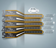 Road Infographic Design Template And Marketing Icons. Car Icon. Royalty Free Stock Image