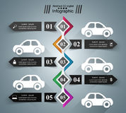 Road infographic design template and marketing icons. Car icon. Royalty Free Stock Photos