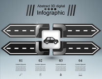 Road infographic design template and marketing icons. Car icon. Stock Photos