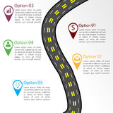 Road infographic template. With pins and business icons Royalty Free Stock Photo