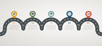 Road infographic timeline with icons, stepwise horizontal structure. Illustration Royalty Free Stock Photos