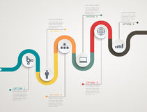 Road infographic timeline with icons, stepwise structure Stock Image