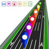 Road infographics. GPS navigator. Direct road highway with markup. Dedicated lanes for public transport illustration Royalty Free Stock Image