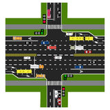 Road infographics. The highway intersects with the road. With the cars and traffic lights. Green signal to the main road Royalty Free Stock Images