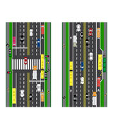 Road infographics. Plot road, highway, street. Intersection. With different cars.  Royalty Free Stock Photography