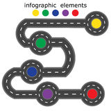Road infographics. Road with five different points marked with different colors. illustration Royalty Free Stock Photography