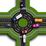 Road infographics. Top view 3d. Road interchange, roundabouts. This shows the movement of cars. Sidewalks and crossings Stock Photo
