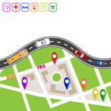 Road infographics. Winding road with markers on the map terrain. Explanations in the upper left corner. Displaying traffic car ill Royalty Free Stock Photos