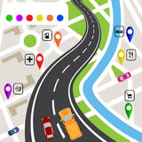 Road infographics. Winding road with markers on the map terrain. The path specifies the navigator. illustrations Royalty Free Stock Images