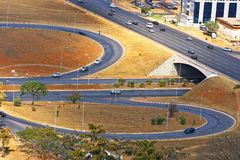 Road infrastructure in Brasilia, the capital of Brazil. Model of modern urban planning and zoning Royalty Free Stock Photos