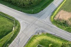Road Intersection Aerial. An aerial view of a road intersection Royalty Free Stock Images