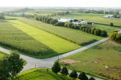 Road Intersection and Farmland Aerial Stock Photography
