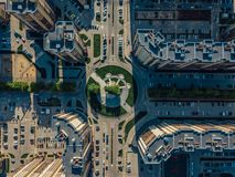 Road intersection in modern residential area in Voronezh, top view.  royalty free stock photos