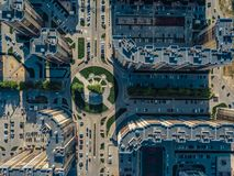 Road intersection in modern residential area in Voronezh, top view.  royalty free stock photo